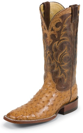 justin cowboy boots COGNAC VINTAGE FULL QUILL OSTRICH