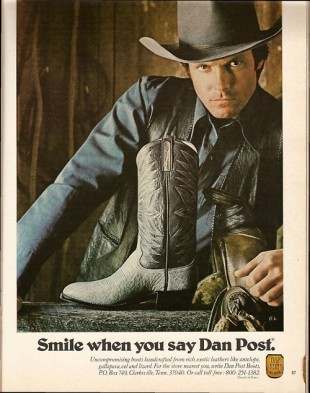Vintage Dan Post Boots ad Playboy 1981