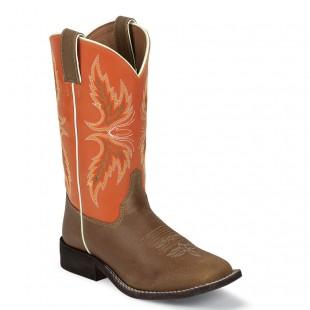 justin kids orange western boots