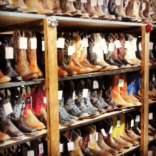 endless wall of cowboy boots