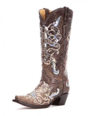 Corral Tobacco Silver Sequin Cowgirl Boot