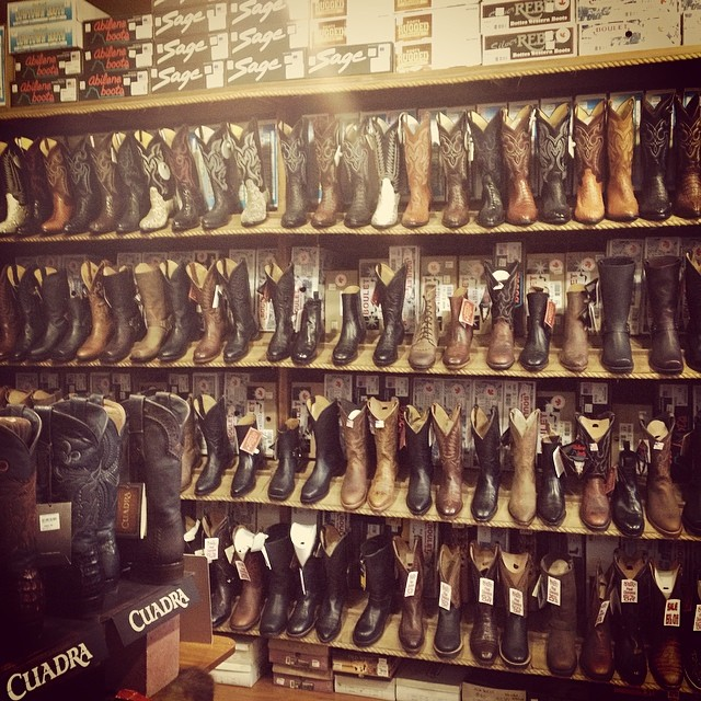 wall of cowboy boots