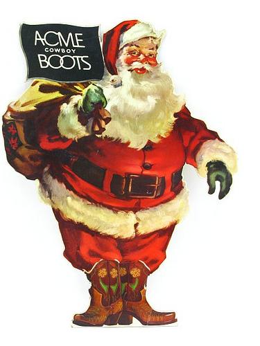 vintage acme cowboy boots santa