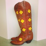 Vintage Boots with Sunflowers