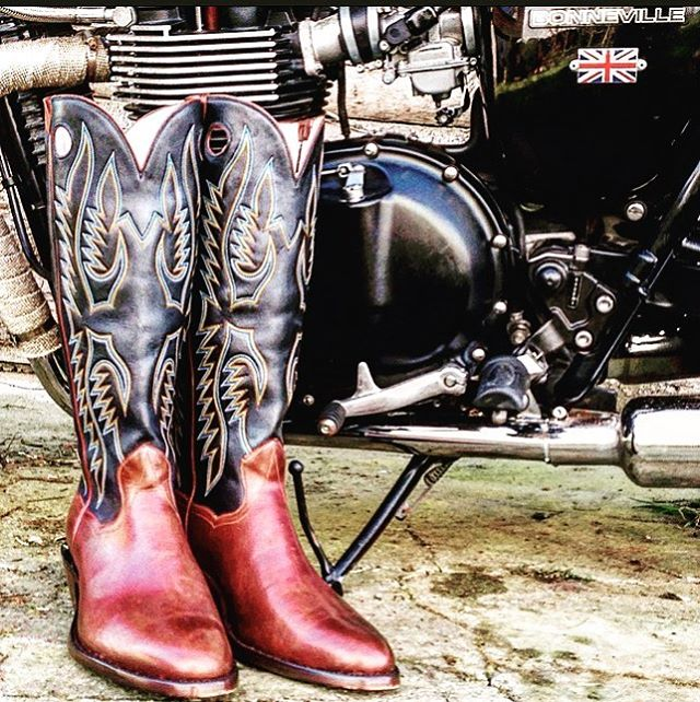 cowboy boots and motorcycle